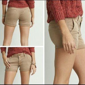American Eagle khaki midi shorts
